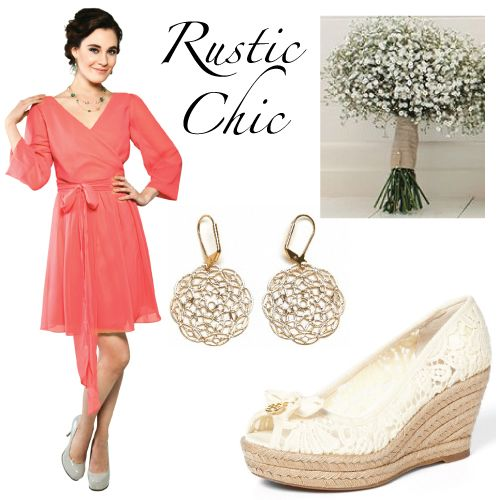 For the rustic chic wedding, we love the easy vibe of the sheer sleeves on this short bridesmaid dress. Pair it with lace and twine influences like this simple & sweet bouquet or filigree earrings. Joanna August Summertime dress. #brideside #wedding #color #coral #bridesmaid #joannaaugust   Coral Bridesmaid Dress Trends | Brideside