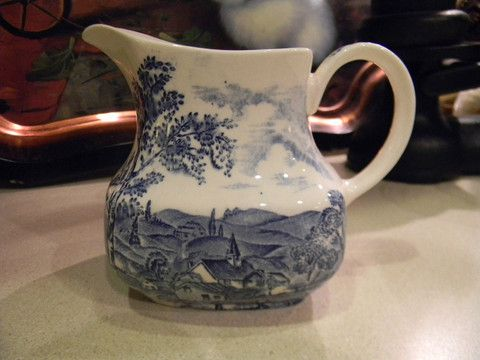 English Blue Transferware Pitcher  Pastoral Country Church View Reverie