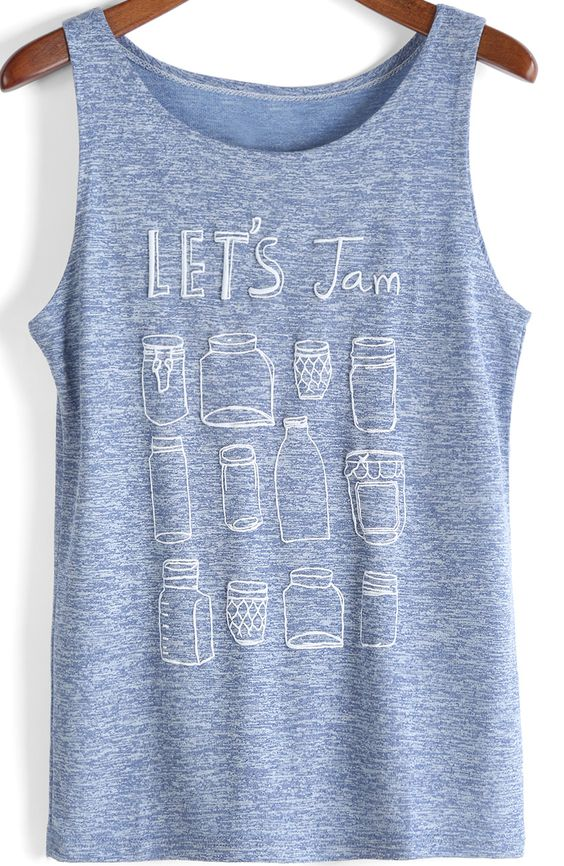 Purple Round Neck Letters Print Loose Tank Top -SheIn(Sheinside)
