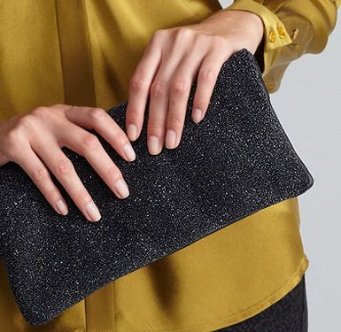 Eileen Fisher Clutch with Leather Strap in Galaxy Textured Leather