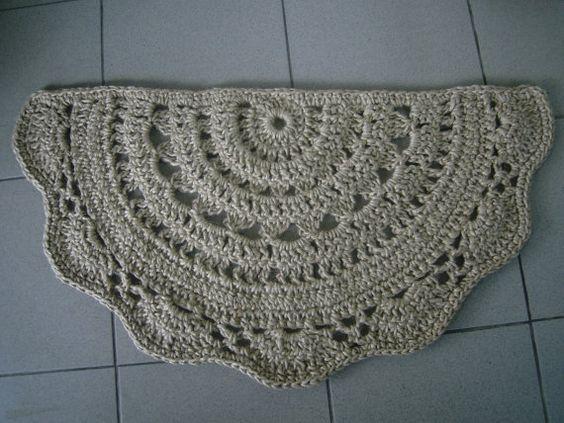 Doormat half circle , Crochet jute door rug , kitchen rug, doily rug