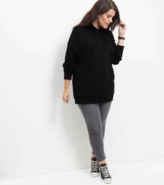 Curves Black Oversized Hoodie  | New Look