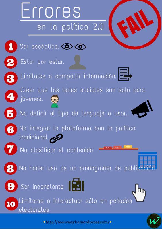 Descubre cuáles son los errores que se cometen en la política 2.0 #RedesSociales #Politica #ciberpolítica: