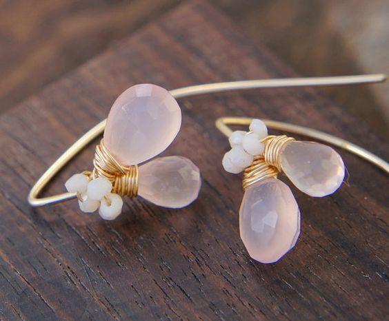 Rosenquarz Ohrringe rosa Chalcedon Ohrringe Gold von Yukojewelry