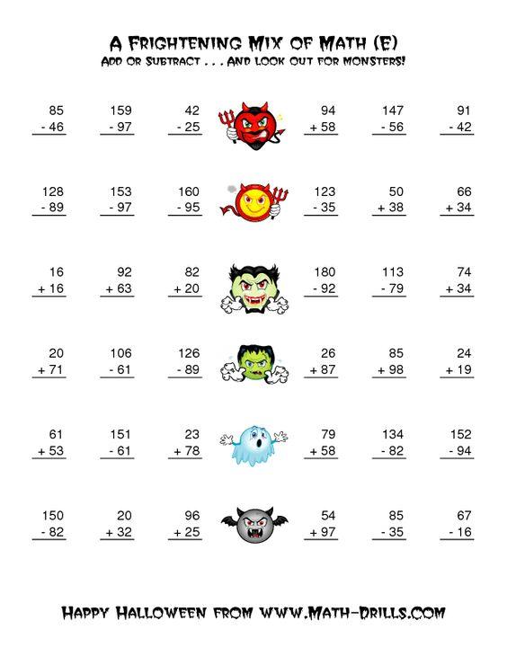 Halloween Math Worksheet TwoDigit Addition and Subtraction – Math Worksheets Double Digit Addition
