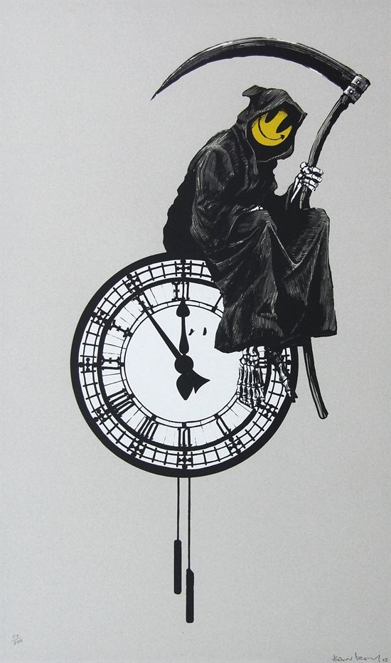Grin Reaper by Banksy                                                                                                                                                      More: