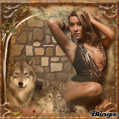 Frau und Wölfe --*-- Woman and wolves