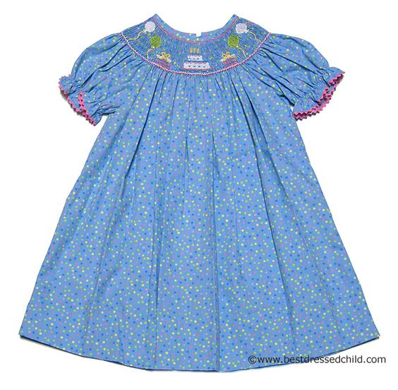 Anavini Infant / Toddler Girls Turquoise Multi Polka Dots Smocked Birthday Party Bishop Dresses
