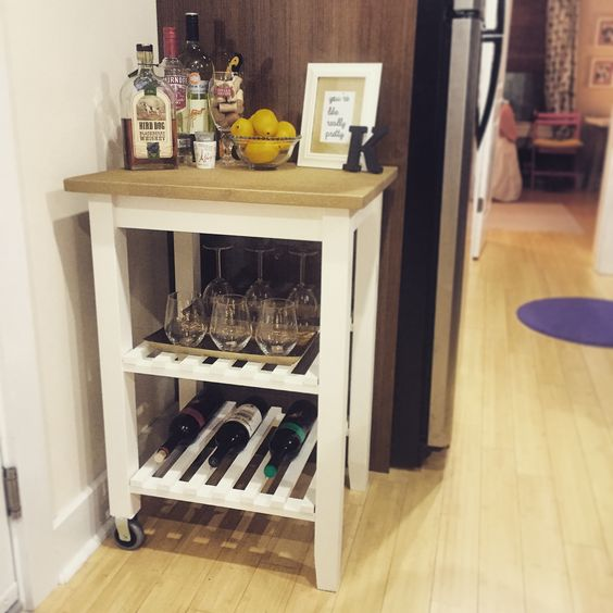 My #DIY bar cart for our tiny kitchen