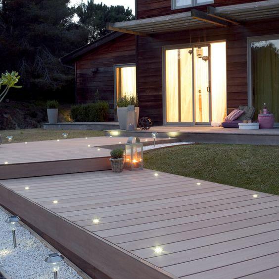Eclairage spots terrasse bois  Jardin  Extérieurs  Pinterest  Ps