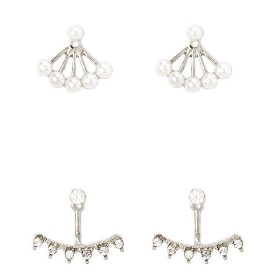 Forever 21 Faux Rhinestone Pearl Ear Jacket Set (€5,49) ❤ liked on Polyvore featuring jewelry, earrings, imitation jewelry, drusy earrings, forever 21 jewelry, drusy jewelry and polish jewelry