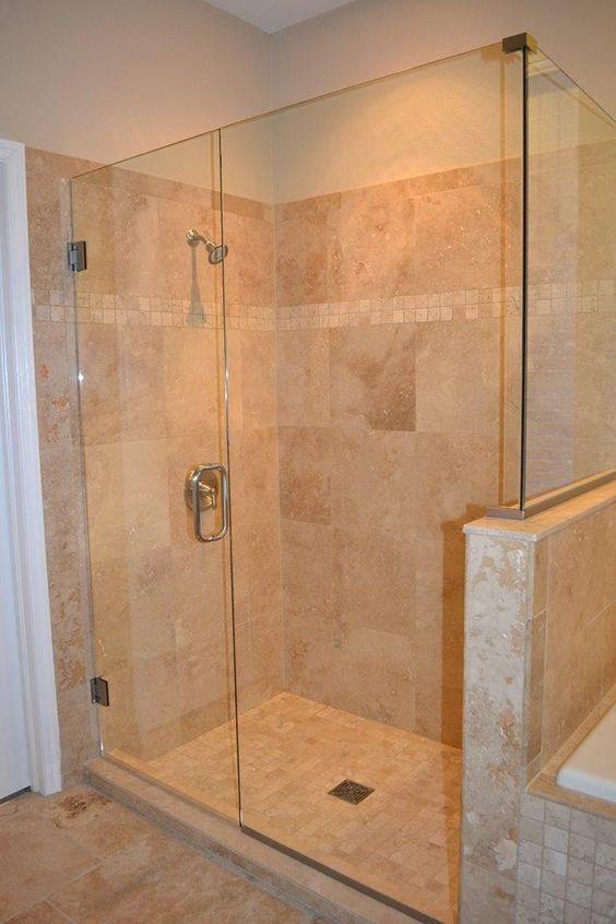 Travertine shower tub floor installation in wesley for Bathroom design 2x2