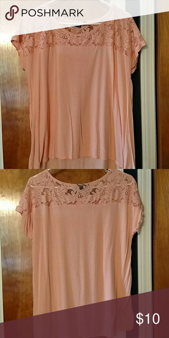 Nwot Coral lace top Beautiful lace detail allows this top to be dressed up or down easily. Great coral color and soft fabric. ANA Tops Tees - Short Sleeve