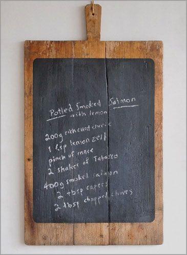 Large rustic French vintage bread board chalkboard