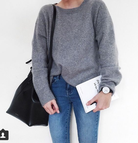 Grey Sweater + Jeans + black details
