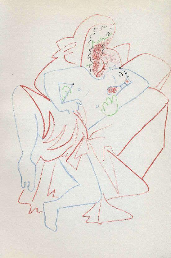 Jean COCTEAU-Lithographie originale de 1957