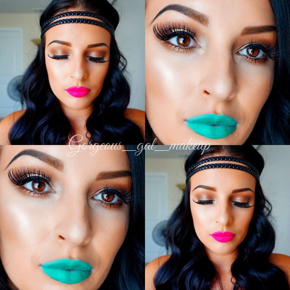 Pink and turquoise lip makeup looks @gorgeous_gal_makeup
