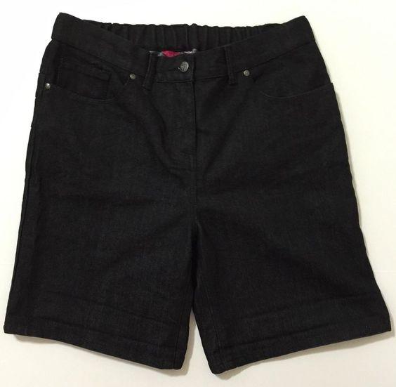 Truly WOW Women's Black Denim Shorts With Elastic Waist Panel Size 12 NWT #TrulyWOW #Denim