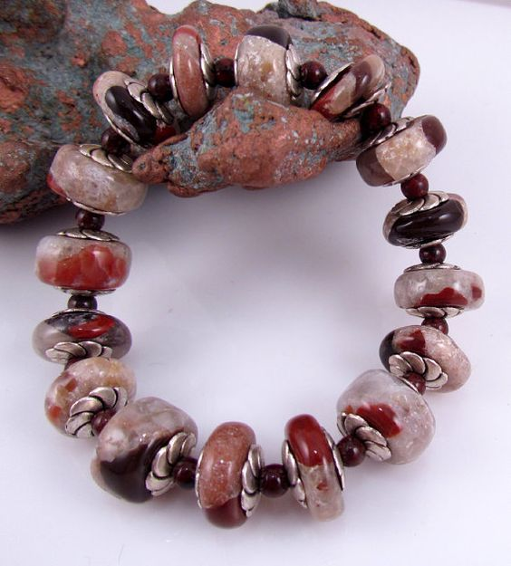 Handmade puddingstone beads and jasper stretchy bracelet by rwilberg