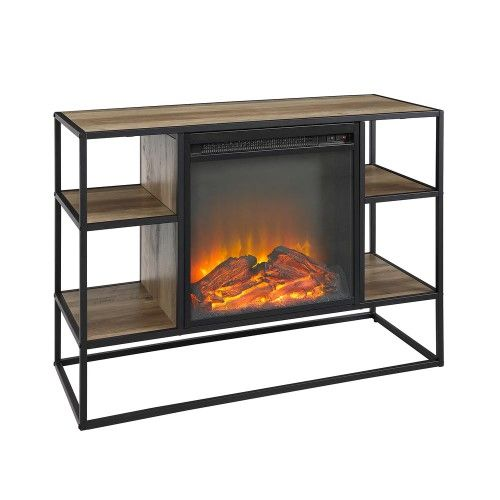 40 Urban Industrial Open Shelf Fireplace Tv Stand Storage Console