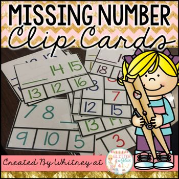 Overview:This includes 24 clip cards with missing numbers from 0-20. It includes 2 numbers in a series with a line for the missing number number. Students will clip the missing number. Looking for more clip card fun? Click here! To Use:Just print, laminate, cut, and your students are ready to clip!Questions?If you have any questions about this product or using this product, please email me at glitterandglue4k2@gmail.com before purchasing.: