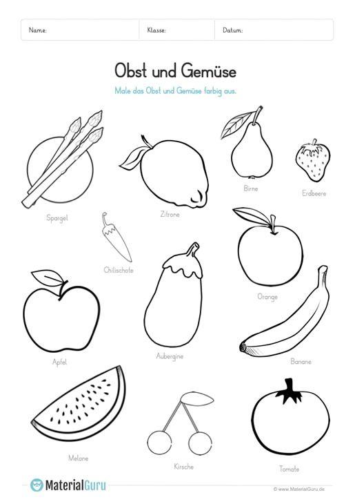 Ein Kostenloses Arbeitsblatt Zum Thema Obst Und Gemuse Auf Dem Die Kinder Schwarz Weiss Abbildungen Vo Kostenlose Arbeitsblatter Obst Und Gemuse Arbeitsblatter