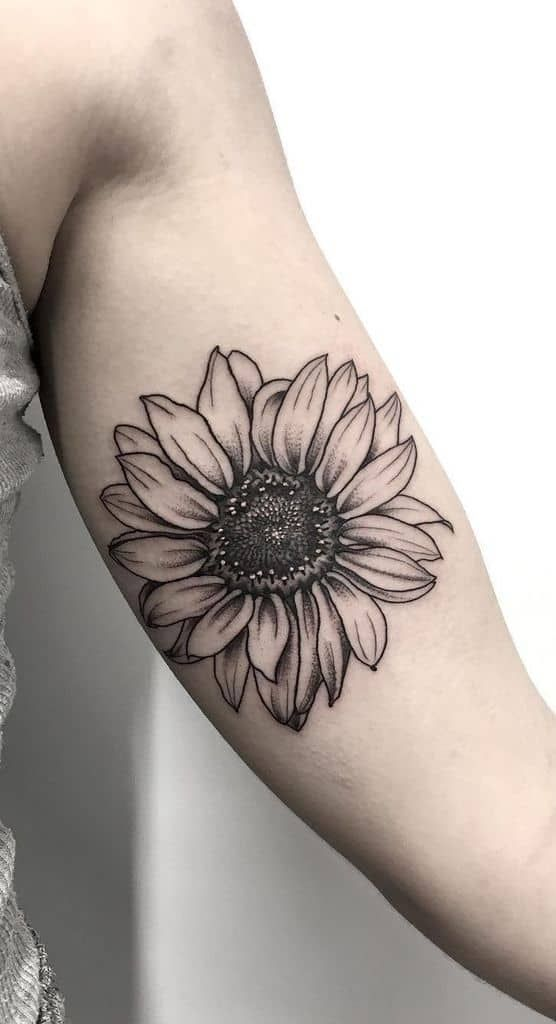 Medium Sized Black And Grey Tattoo On Woman S Forearm Of Realistic Sunflower With White High In 2021 Sunflower Tattoo Shoulder Sunflower Tattoo Sleeve Sunflower Tattoo