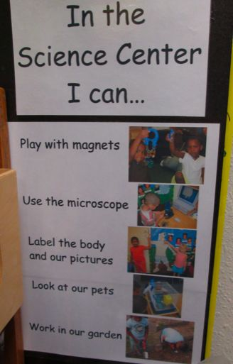 I Can anchor chart in the Science Center.  Good for kindergarten with photos and simple text.