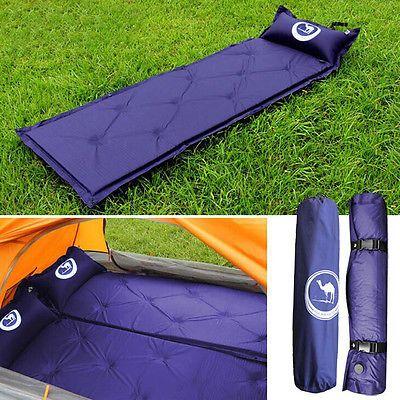 Air inflatable Self-Inflating Camping Mat Pillow Sleeping Pad Mattress Bed Blue