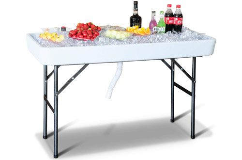 Giantex 4 Foot Party Folding Plastic Table With Matching Skirt White Cool Tables Outdoor Cooler Table