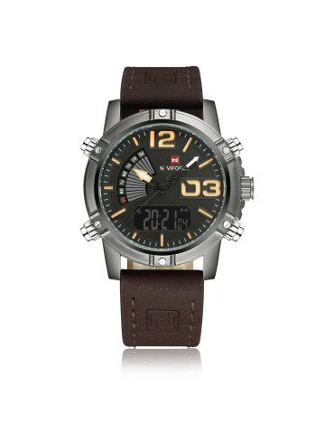 NAVIFORCE 9095 Faux Leather Luminous Analog Digital Watch from dresslily