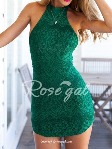 Sexy Halter Sleeveless Backless Bodycon Lace Women's Dress