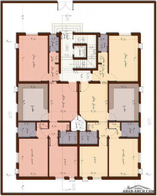 شقق سكنية بتصميم حديث 2 غرفة نوم في كل وحدة سكنية Family House Plans House Plans House Design