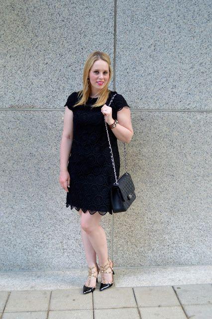 Black Scalloped Lace Dress...