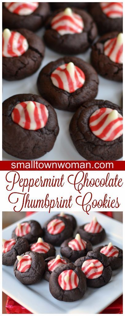 These delectable cuties are a rich peppermint chocolate cookie topped with an adorable peppermint kiss candy.: