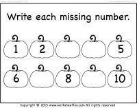 math worksheet : missing numbers  halloween worksheet pumpkin worksheet  : Kindergarten Number Worksheets 1 10