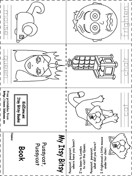 Itsy Bitsy Book Pussycat Pussycat – Small Book Template