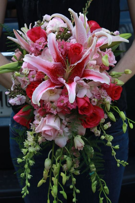 wedding bouquets with stargazer lilies and roses bouquet wedding delphiniums and wedding on 8544