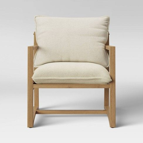 Higgins Sling Arm Chair Natural Threshold Armchair Sling Armchair Wood Arm Chair