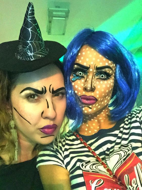Halloween look, pop art , comic make up scary horror