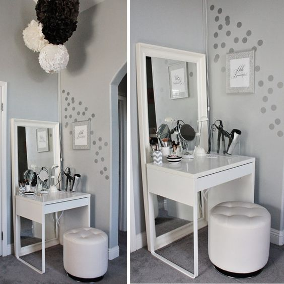 Gray And White Color Scheme...Simple Corner Vanity