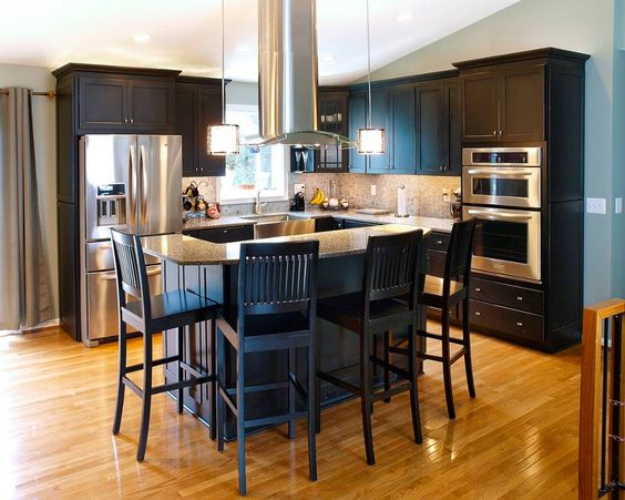 Kitchen reno pendants and island range hood on pinterest for Bi level kitchen designs