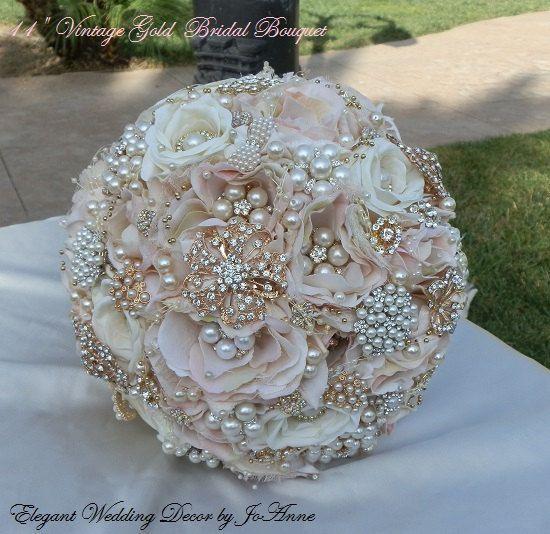 Jeweled Bouquet wedding bouquet cascading gold and silver broach bouquet Brooch bouquet bridal bouquet Quinceanera keepsake bouquet.