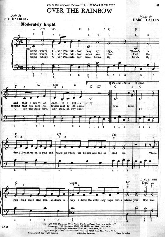 Free download sheet music Over The Rainbow (Wizard of Oz