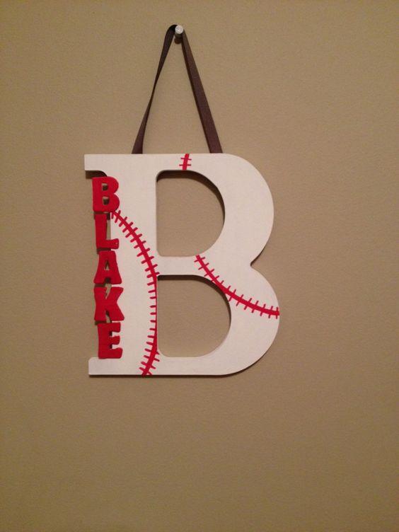 Baseball wooden letter by LettersforLittles on Etsy https://www.etsy.com/listing/209039297/baseball-wooden-letter