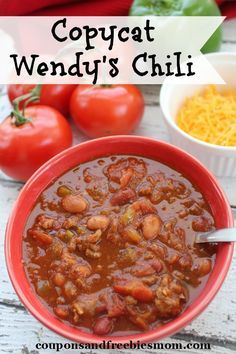 Copycat Wendy's Chili! Easy and delicious chili recipe. Can be apapted for your slow cooker too! You won't believe how similar this tastes to the original! Check out this fun and tasty recipe right now!