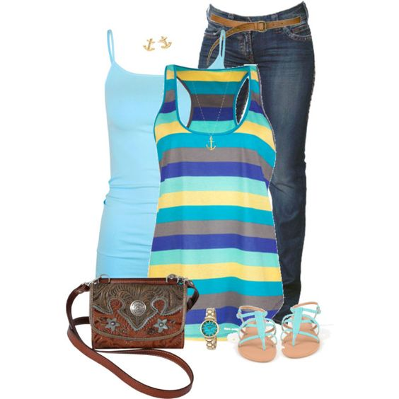 """""""Striped Tank Top"""" by daiscat on Polyvore"""