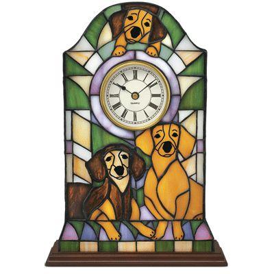 dachshund clocs | Dachshund Stained Glass Mantel Clock - The Danbury Mint
