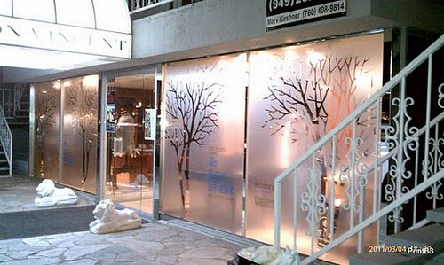 Etched Window Graphic In Store Front Printed On Frosted