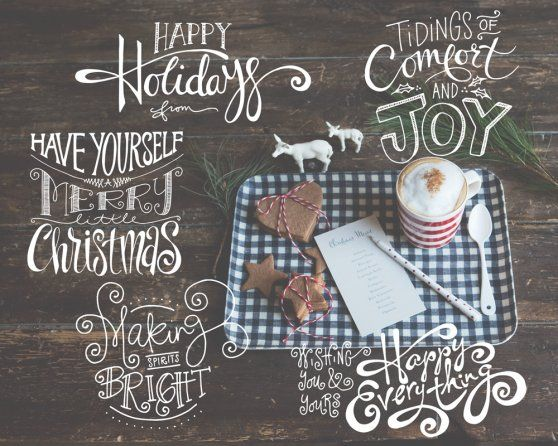 Cozy Christmas Hand Lettered Overlay templates by Jamie Schultz Designs